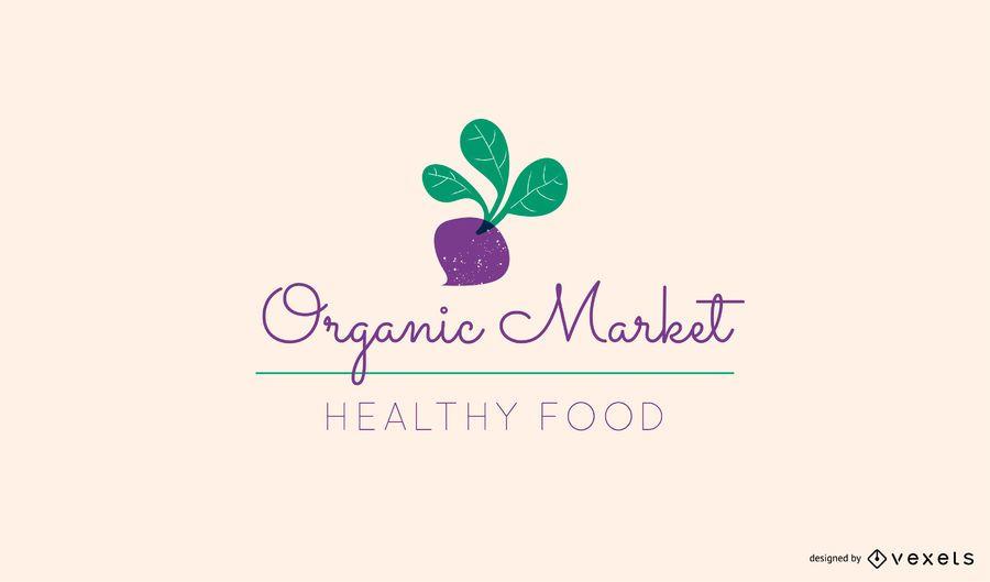 Organic market beetroot logo template