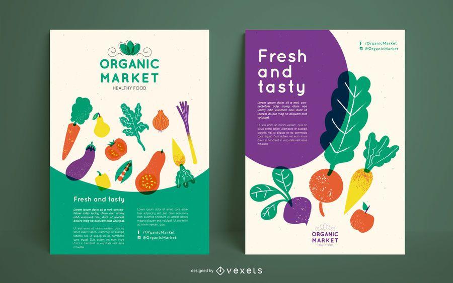 Plantilla de póster de mercado orgánico