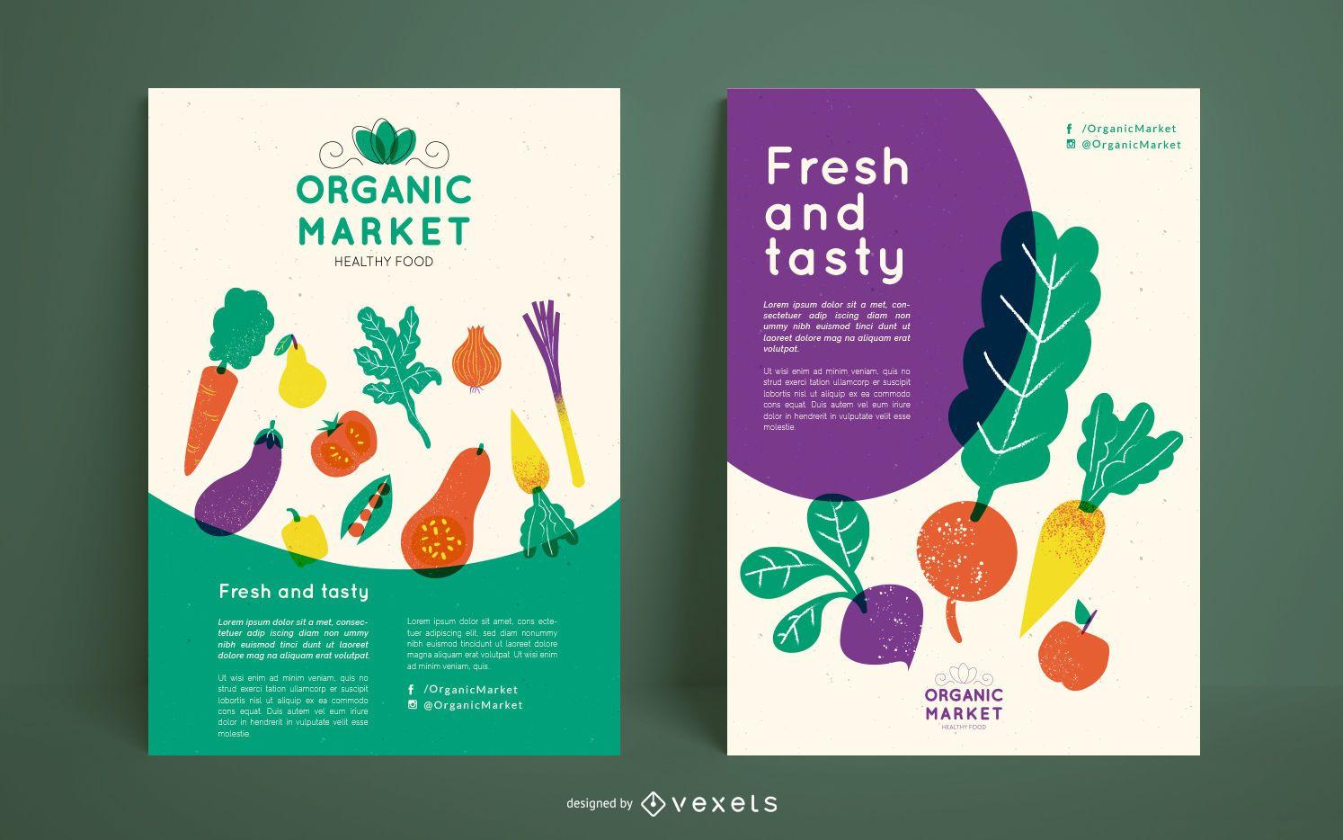 Organic market poster template