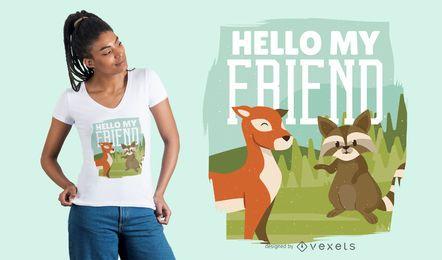 Diseño de camiseta de amigos animales de ciervo y mapache
