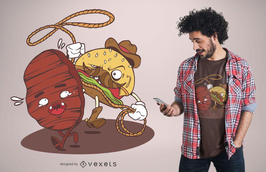 Design engraçado do t-shirt do vaqueiro do hamburguer