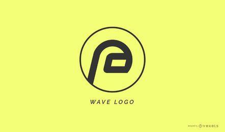 Modelo de logotipo de onda abstrata