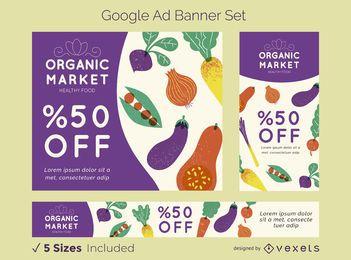 Conjunto de banner de anúncio de mercado orgânico