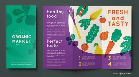 Plantilla de folleto de mercado orgánico