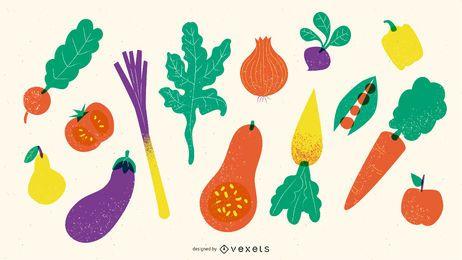 Pacote texturizado de frutas e legumes
