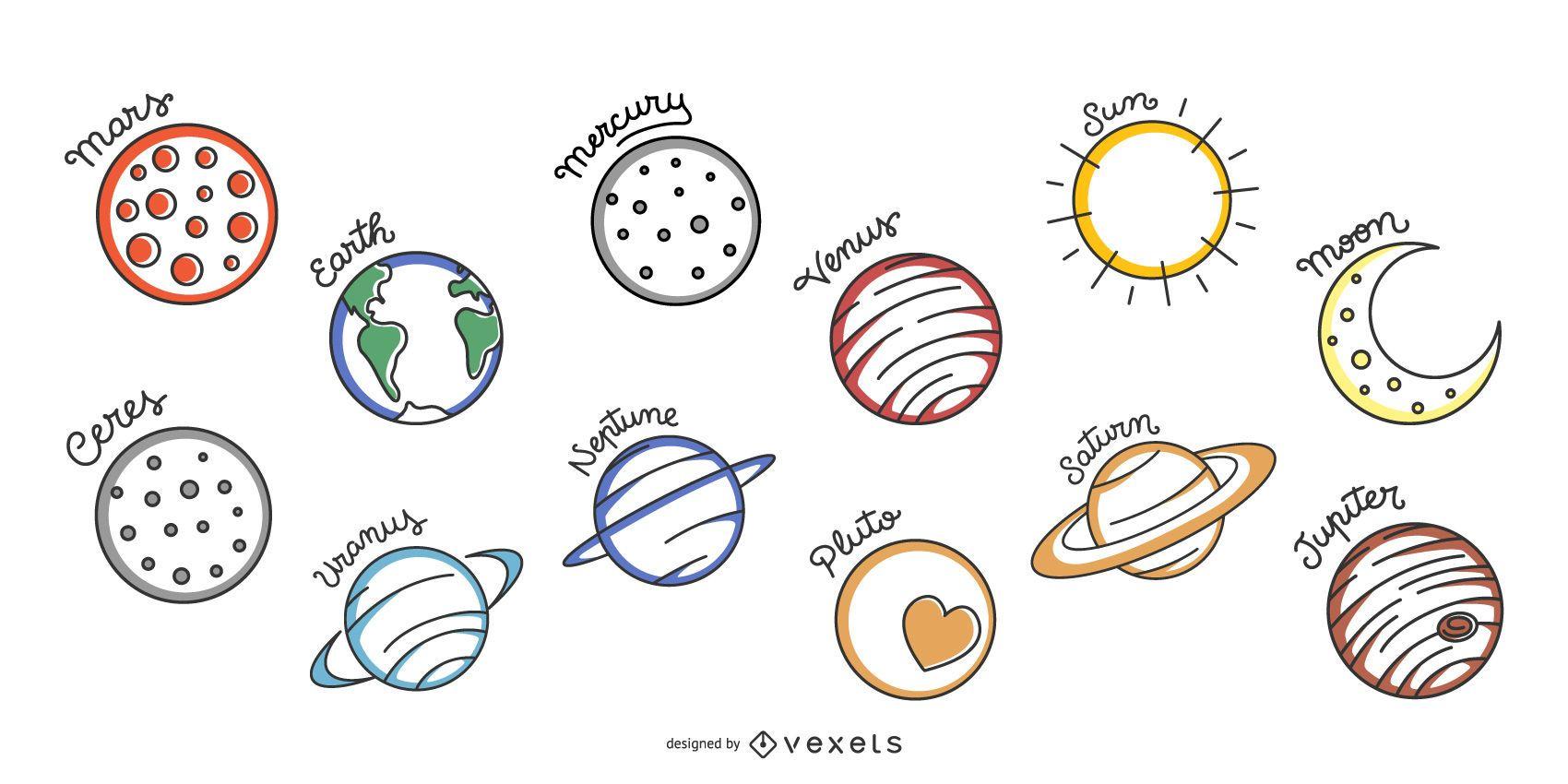 Conjunto de vectores de sistema solar