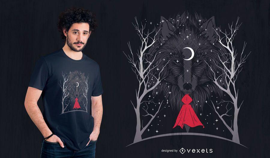 Diseño de camiseta de noche con capucha roja