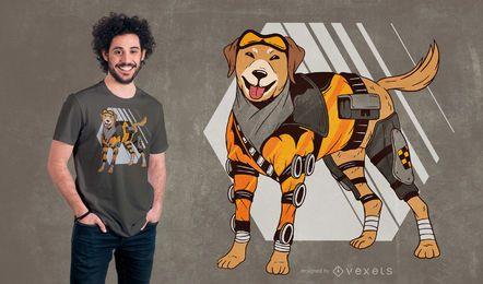 Diseño de camiseta de perro Cyborg