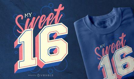 Diseño de camiseta Sweet 16