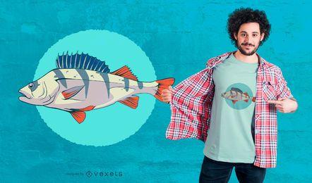 Diseño de camiseta de pez perca europeo