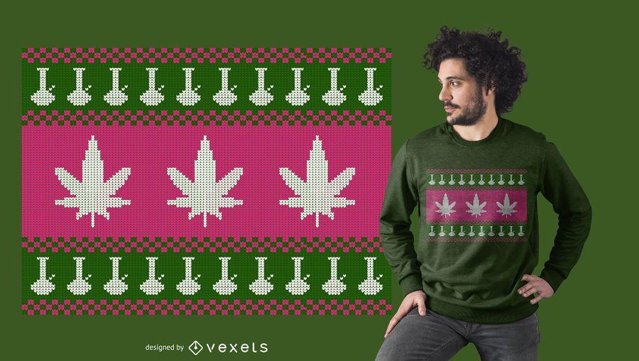 Diseño de camiseta Weed Bong Ugly Sweater
