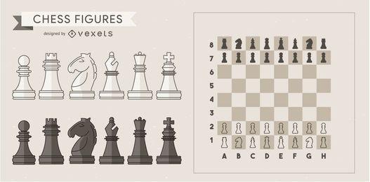 Conjunto de elementos de piezas de ajedrez