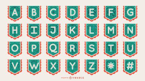Conjunto de alfabeto festão Banner letra