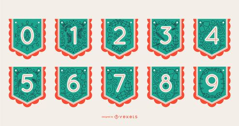 Christmas Alphabet Banner Number Set