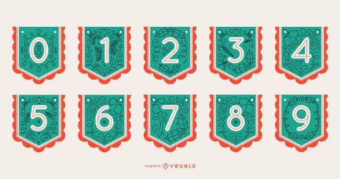 Conjunto de números de banner de alfabeto de Navidad