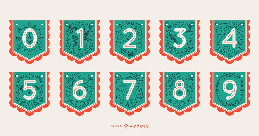 Christmas Alphabet Banner Number Set