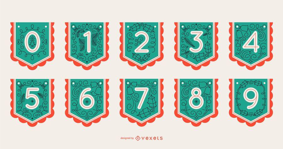 Conjunto de números de banner de alfabeto de Natal