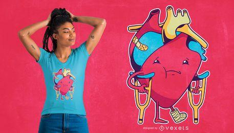 Design engraçado do t-shirt do coração quebrado