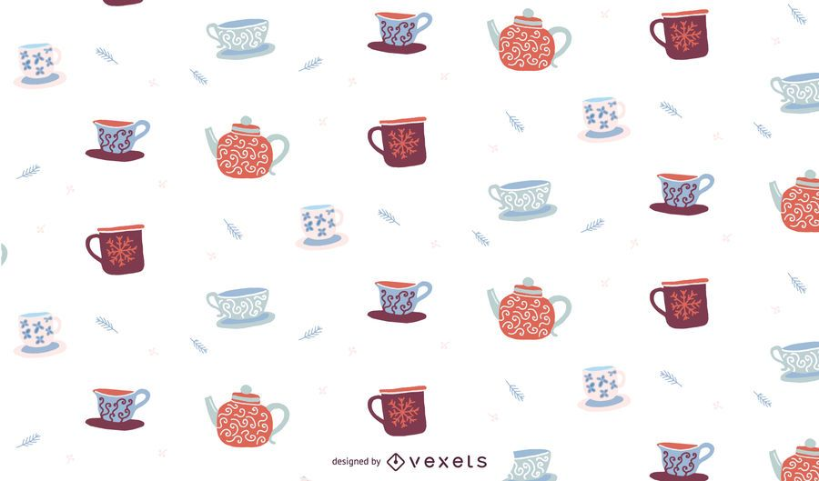 Winter cups pattern design