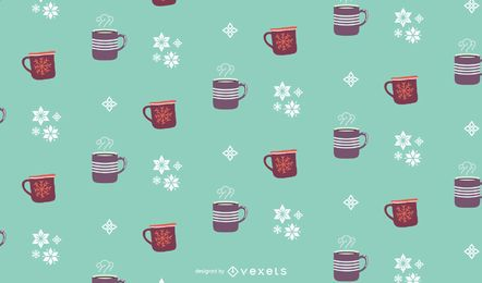 Diseño de patrón de bebidas de invierno