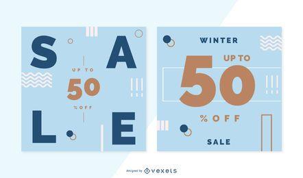 Conjunto de banner de venta de invierno