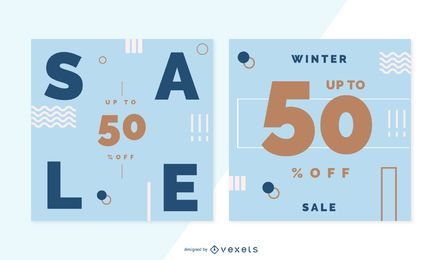 Winter sale banner set