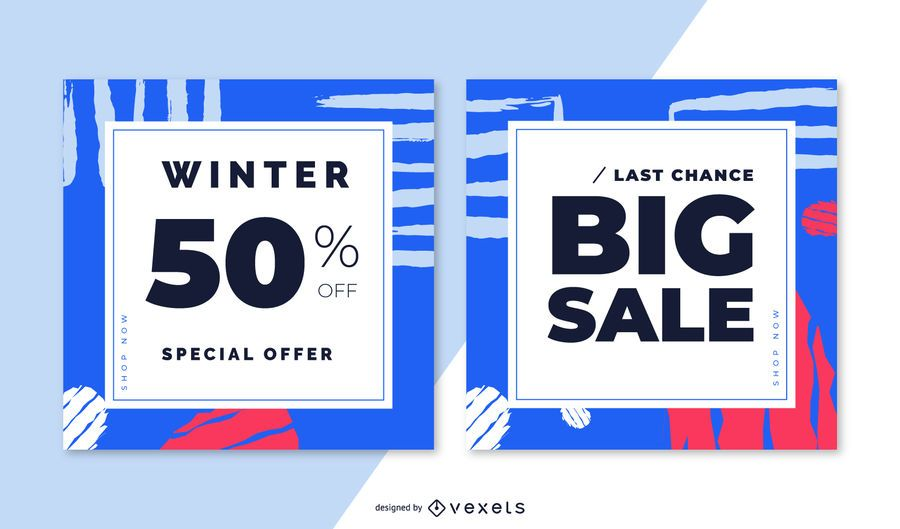 Winter sale abstract banner set