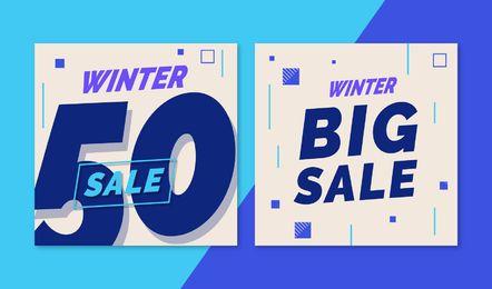 Conjunto de banner de grande venda de inverno