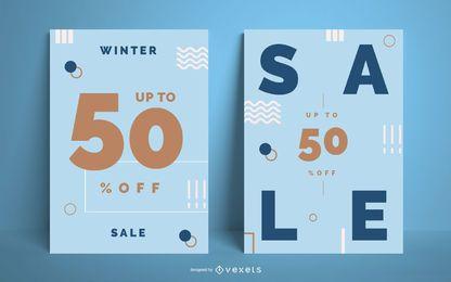 Conjunto de carteles de rebajas de invierno