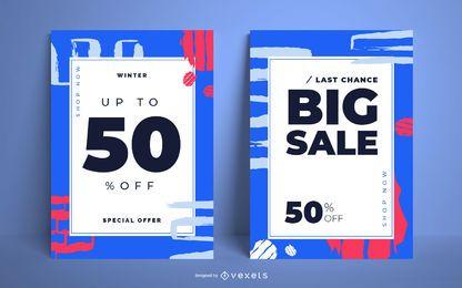 Conjunto de cartaz abstrato de venda de inverno