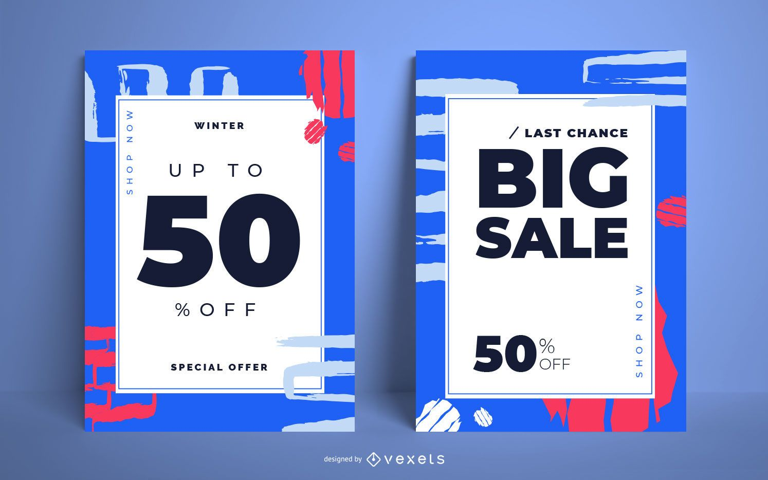 Winter sale abstract poster set