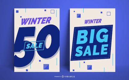 Conjunto de carteles de gran venta de invierno