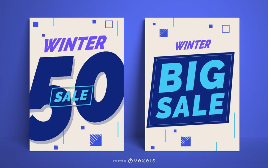 Winter big sale poster set