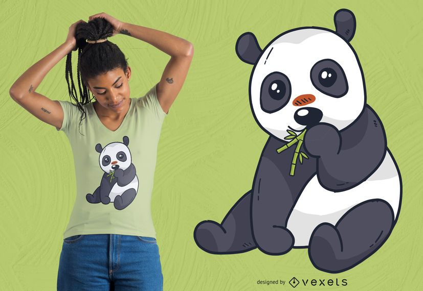 Cute panda bamboo t-shirt design