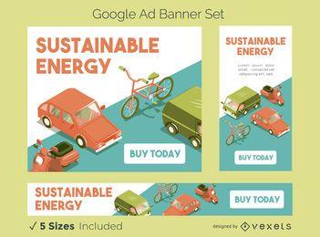 Conjunto de banners de anúncios do Google de energia sustentável