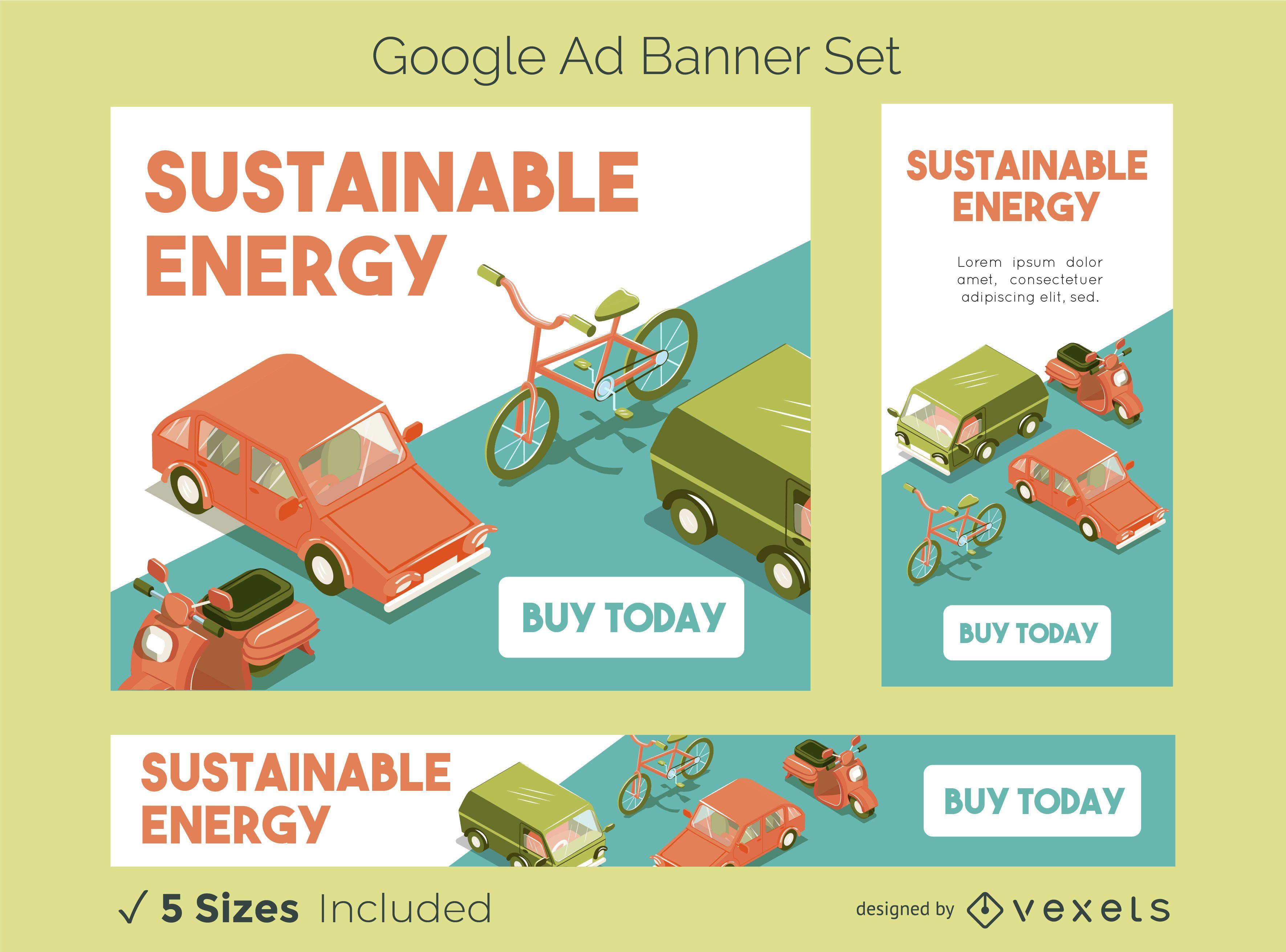 Conjunto de banners do Google Ads de energia sustentável