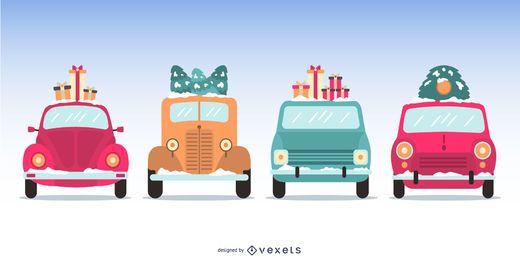 Flache Weihnachtsauto-Illustrations-Satz
