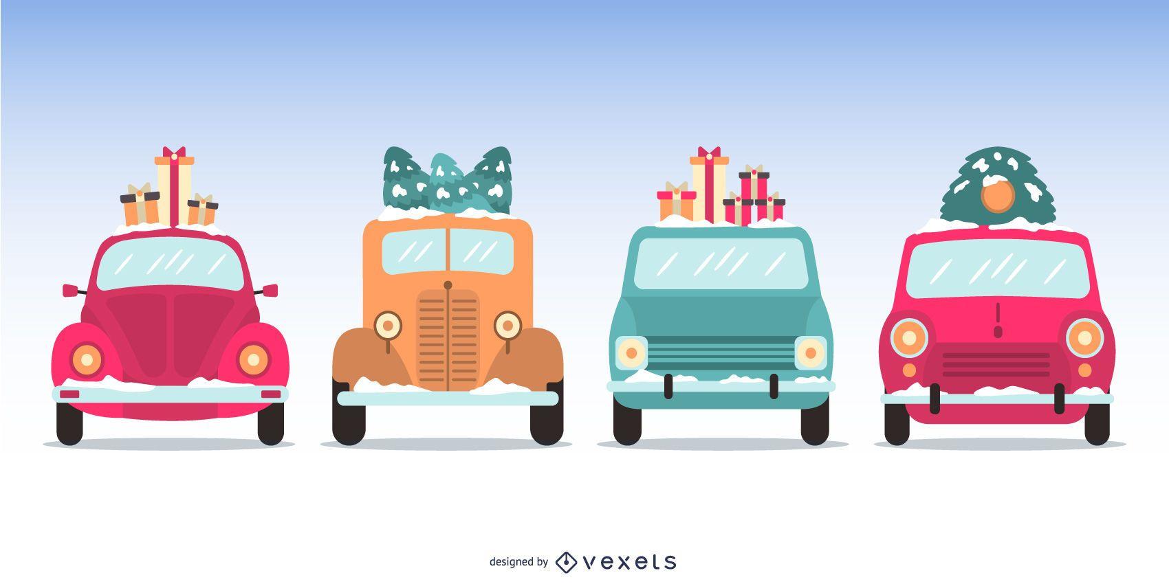 Flat Christmas Cars Illustration Set