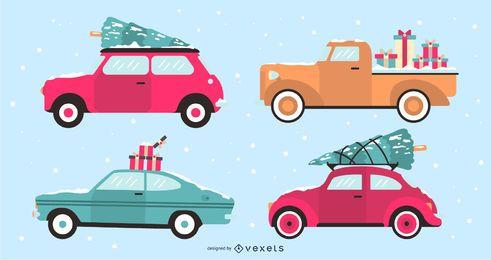 Feiertags-Auto-flacher Design-Illustrations-Satz