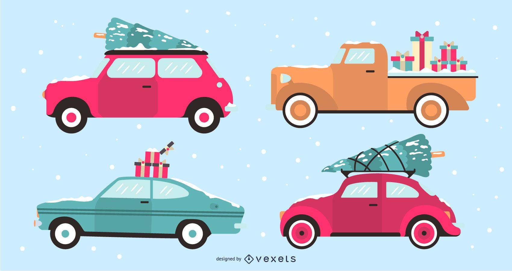 Conjunto de ilustración de diseño plano de coches de vacaciones