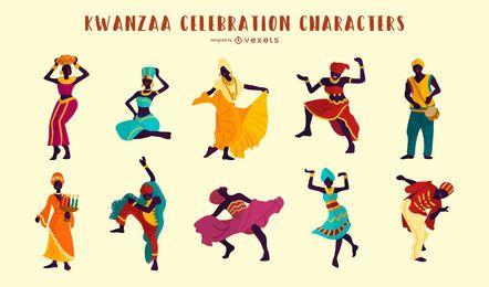 Kwanzaa Comemoração Pessoas Ilustração Conjunto