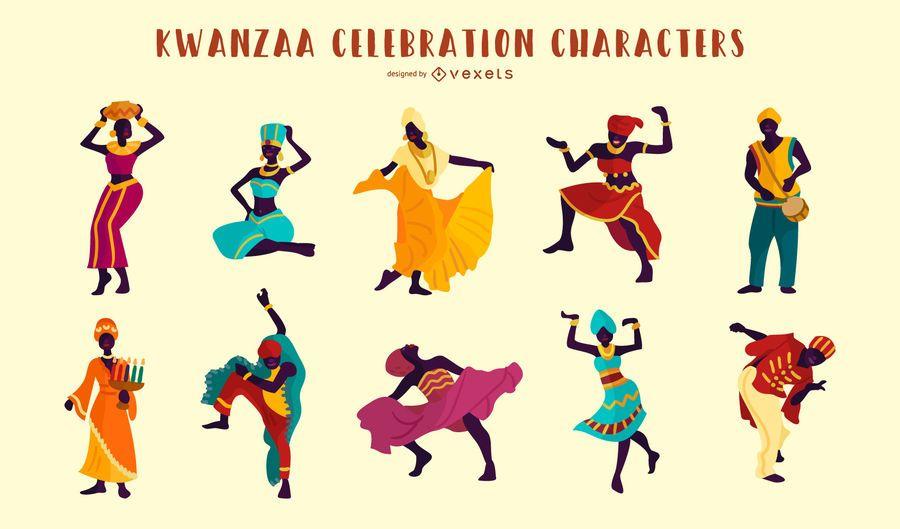 Conjunto de ilustração de pessoas de celebração de Kwanzaa