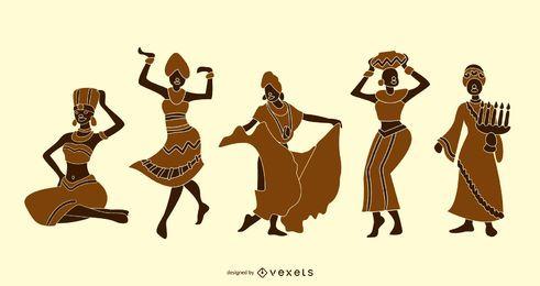 Kwanzaa-Leute-Schattenbild-Design-Satz