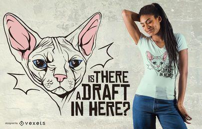 Design engraçado do t-shirt das citações do gato de Sphynx
