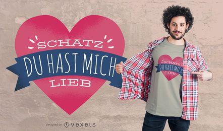 Deutscher Herz-Liebes-T-Shirt Entwurf