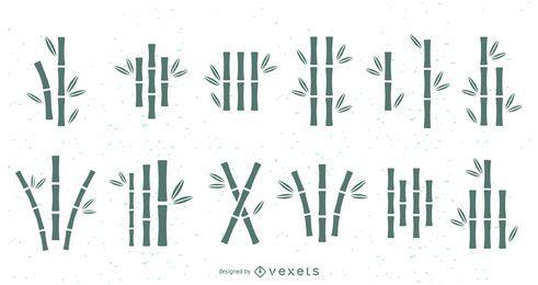 Conjunto de silhuetas de bambu