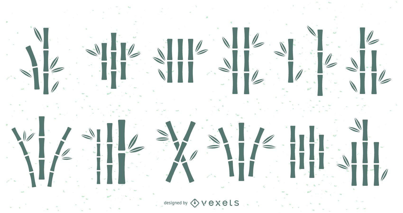 Conjunto de siluetas de bambú