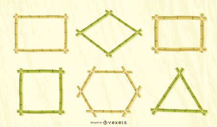 Bamboo frames vector set