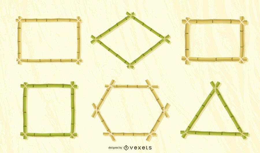 Bamboo frames vector set