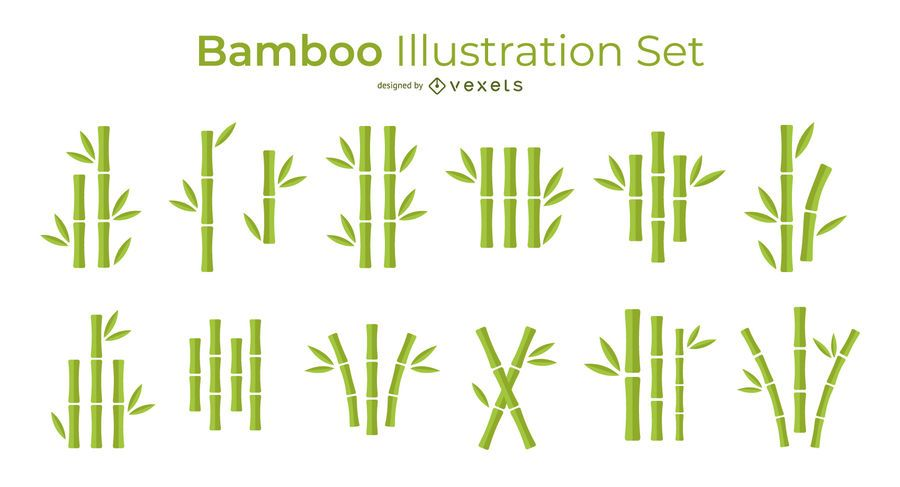 Bamboo simple vector set
